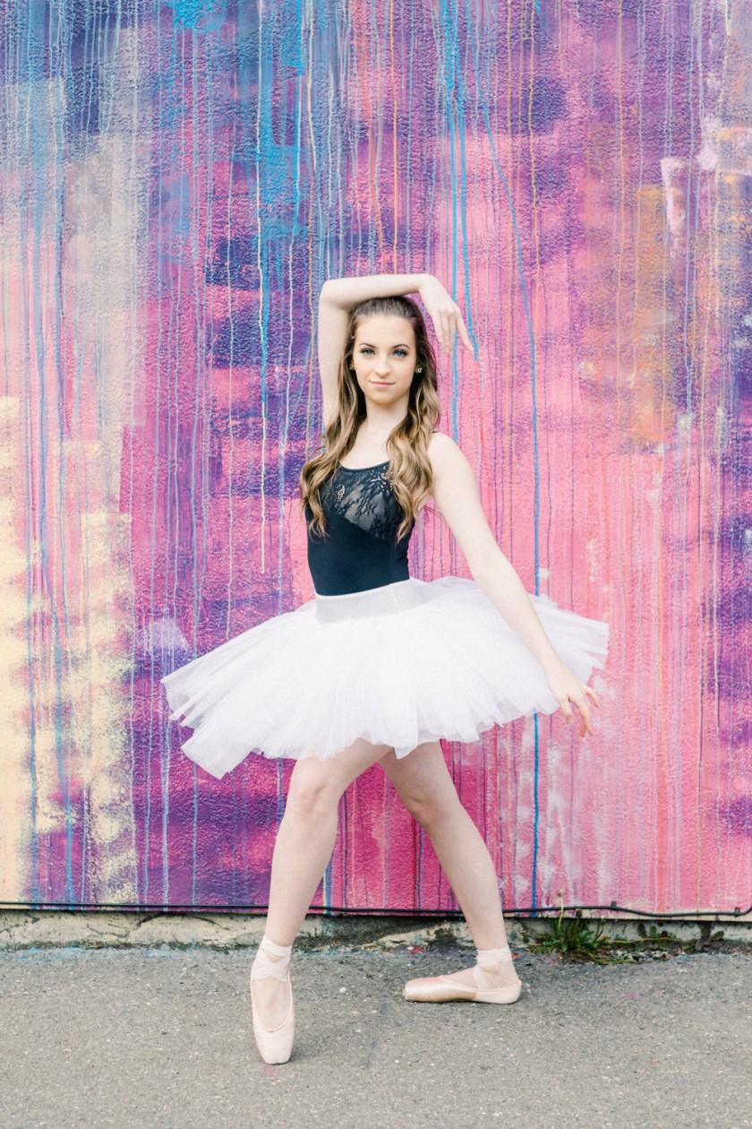 Ballet portrait of female dancer on streets of Old Town Eureka, CA