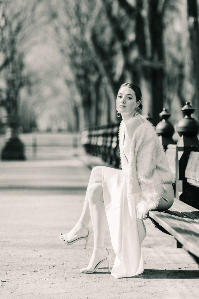 Black and white winter bridal portrait in Central Park, NYC